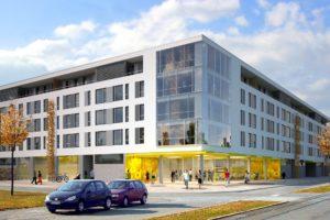 Neubau eines Lebensmittelmarktes mit 57 Wohnungen